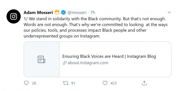 Instagram CEO:平台正在采取措施来支持黑人社区