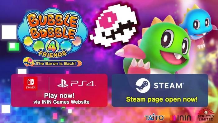 童年经典完整版《泡泡龙4伙伴》确定登陆Steam