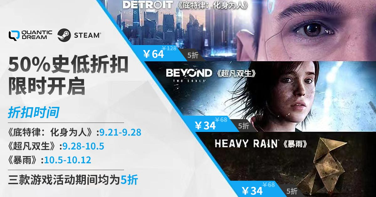 Steam平台秋促,Quantic Dream工作室旗下游戏迎史低